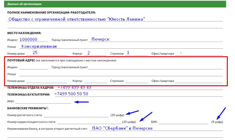 Форма справки - вписываем название и юр и почтовый адрес